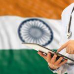 Doctor on flag of India background. 3d illustration. Image credit: gioiak2 / 123rf